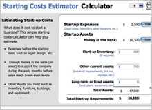 busines starting costs calculator image